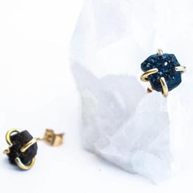 Black Druzy Free Form Earrings