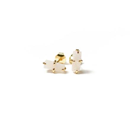 White Druzy Bar Earrings