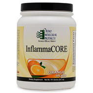 InflammaCore by Ortho Molecular Products  701 grams (24.98 oz) powder (Orange Splash flavor)  Inflammation is a natural part of the body's immune response, a cascade triggered to protect the body and maintain normal tissue repair. Because inflammation plays a role in so many health challenges, it is essential to support and maintain a healthy cycle of inflammation to achieve optimal health.  InflammaCORE is an advanced nutritional formula built to address immune challenges, maintain a healthy inflammatory response and strengthen gastrointestinal barrier function. It represents an innovative,multidimensional approach to providing powerful phytonutrients that support proper inflammatory control and overall gastrointestinal health. InflammaCORE is an all-natural, fructose-free formula featuring 19 g of easy-to-digest organic brown rice protein and 4 g of flax-based fiber per serving. In addition, InflammaCORE provides high amounts of L-glutamine and glycine, amino acids crucial for intestinal reinforcement and mucosal cell regeneration.