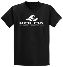 Koloa Surf Classic Wave Logo Tees - Heavy Cotton T-Shirts Black / White logo