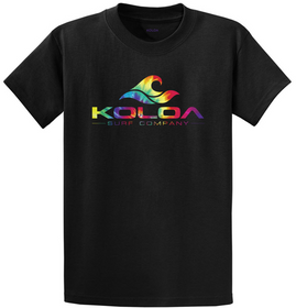 Koloa Surf Co. Rainbow Wave Logo Black T-Shirts in Regluar, Big & Tall