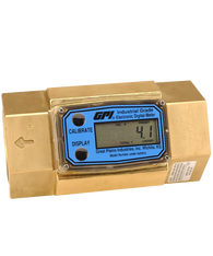 "GPI Flomec 1 1/2"" NPTF Brass Industrial Flow Meter, 10-100 GPM, G2B15N19GMB"