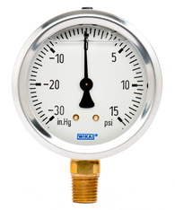 WIKA Type 213.53 Utility Pressure Gauge 0-30 in Hg Vacuum / 15 PSI 9699036