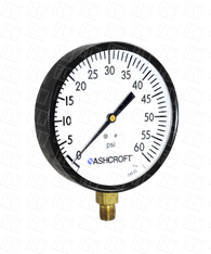 Ashcroft Type 1000 Commercial Pressure Gauge 0-60 PSI 45-W-1000-H-02L-60#