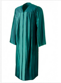 Shown is shiny emerald green gown (Cool School Studios 0011), front view.