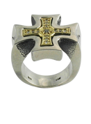 18K Gold & Sterling Sterling Silver German Cross Ring with White Diamonds