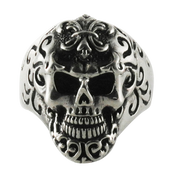 Dia De Los Muertos - Detailed Fleur De Lis Sugar Skull Ring in Sterling Silver