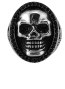American Eagle and Skull Biker Ring with Black CZ