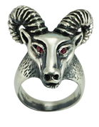 Aries The Ram - Sterling Silver Biker Ring with Red CZ