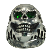 Sinister Grin Skull Biker Ring with Oxidized Silver and Green CZs