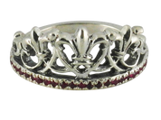 Royal Sterling Silver Queen's Crown Ring with Red Stones
