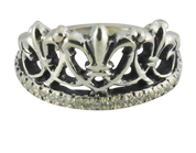 Regal Fleur De Lis Queen's Crown Ring With White Stones