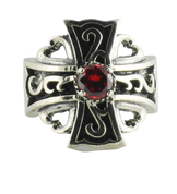 Sterling Silver Celtic Cross Ring with Red Center Stone