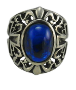 Large Sterling Silver Gothic Green Blue Ring With Cross Sides