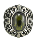 Large Sterling Silver Gothic Green Stone Ring With Cross Sides