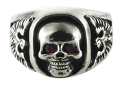 Red Reaper Skull Ring with American Eagles On The Side