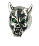 Devil's Own: Sterling Silver Horned Devil Ring - Green
