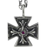 Large Iron Cross Pendant in Sterling Silver