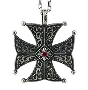 Sterling Silver Spanish Cross Biker Pendant with Genuine Ruby