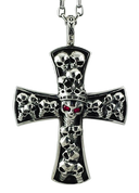 "King of the Dead: Large Cross Pendant with Red Stones w/ 24"" Link Chain"