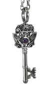"Unique Skeleton Key Pendant with Purple Stone w/ 24""Link Chain"