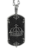 "Royal Crown Dog Tag with Moroccan Pattern Background w/ 24"" Link Chain"
