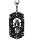 "Red Reaper: Skull Dog Tag with Spike Background w/ 24"" Link Chain"