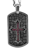 "Genuine ruby Encrusted Cross Dog Tag w/ Rustic Stone Background w/ 24"" Link Chain"