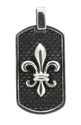 "French Fleur De Lis Dog Tag with Cobble Stone Background w/ 24"" Link Chain"