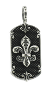 "French Fleur De Lis Dog Tag with Spike Background w/ 24"" Link Chain"