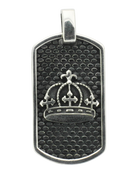 "Triple Cross Crown with Cobblestone Background w/ 24"" Link Chain"