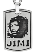 "Guitar Legend: Jimi Hendrix Dog Tag with 24"" Link Chain"