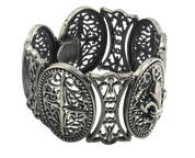 Rugged & Graceful Heavy Fleur De Lis Panel Sterling Silver Bracelet