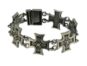 Badass German Cross Link Sterling Silver Biker Bracelet
