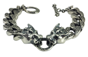 Heavy Duty Sterling Silver Tiger Head Link Biker Bracelet
