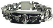 Heavy-Duty Skull With Wings Biker Bracelet. Sterling Silver Link ID Bracelet