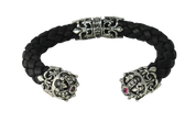 Regal Crown And Fleur De Lis .925 Silver and Leather Cuff