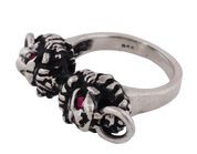 NEW - Double Headed Lion Knocker Ring in Sterling Silver and Genuine Rubies