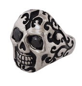 NEW- Badass Giant Sugar Skull Ring in Sterling Silver and Black CZ