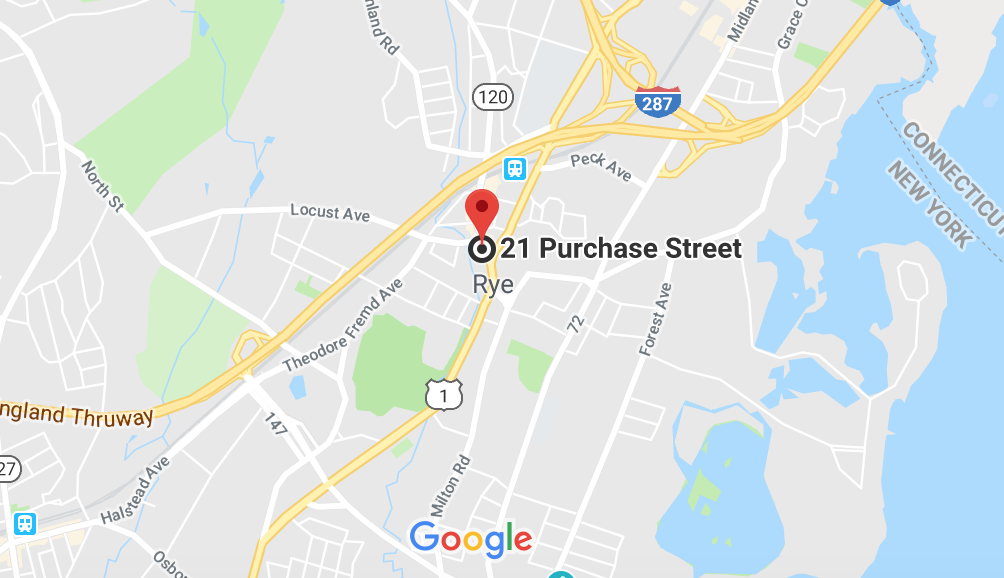 Google Map view of 21 Purchase Street Rye NY store location for Woodrow Jewelers