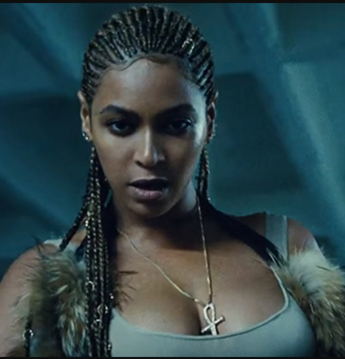 Beyonce wearing a Diamond Ankh Necklace in her Lemonade music video
