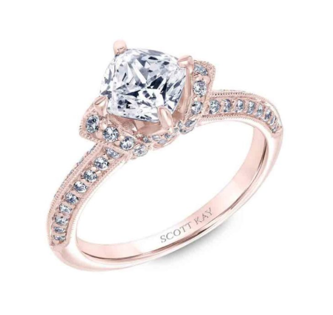 Rose gold engagement ring by Scott Kay