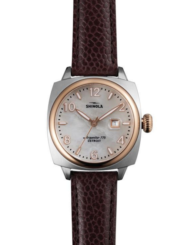 The Brakeman by Shinola womens watch with brown alligator leather strap and mother of pearl case