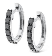 KC Designs Black Diamond Mini Hoop Earrings in 14k White Gold with 14 Diamonds