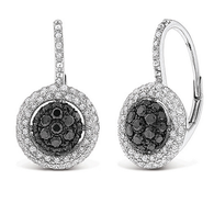 KC Designs Black And White Diamond Small Circle Earrings in 14k White Gold with 140 Diamonds