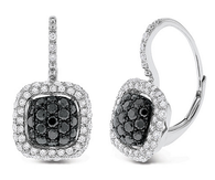 KC Designs Black And White Diamond Small Cushion Earrings in 14k White Gold with 140 Diamonds