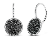 KC Designs Black And White Diamond Circle Earrings in 14k White Gold with 166 Diamonds