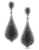 KC Designs Black And White Diamond Drop Earrings in 14k White Gold with 236 Diamonds