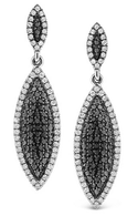 KC Designs Black And White Diamond Drop Earrings in 14k White Gold with 222 Diamonds