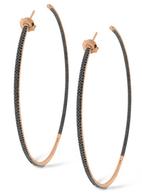 KC Designs Black Diamond Inside Outside Hoop Earrings in 14k Rose Gold with 342 Diamonds